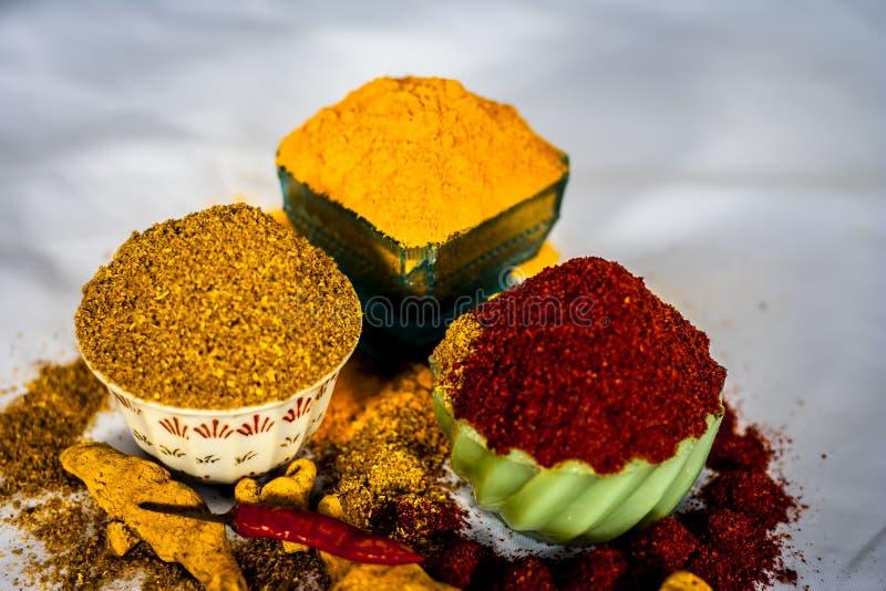 Especias básicas de la comida india foto de archivo libre de regalías