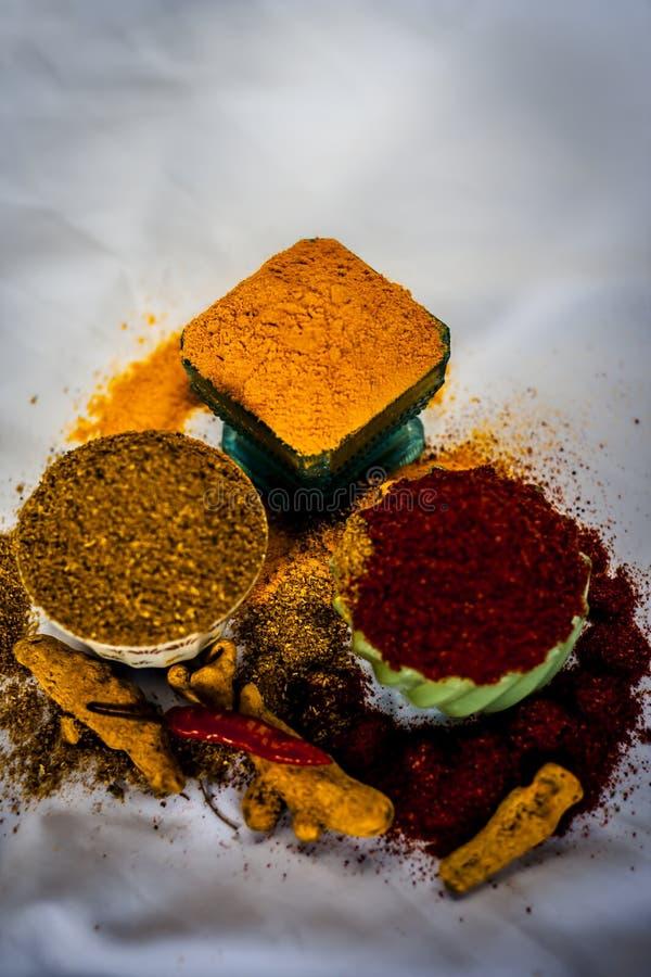 Especias básicas de la comida india imagenes de archivo