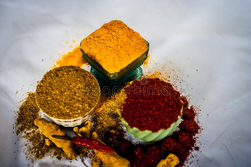 Especias básicas de la comida india fotos de archivo libres de regalías
