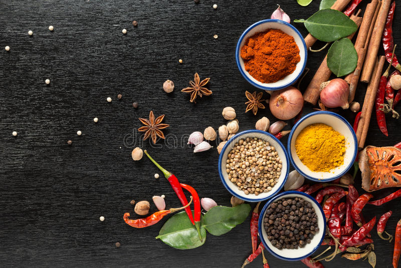 Especias con los ingredientes en fondo oscuro sano o cocinando c imagen de archivo libre de regalías