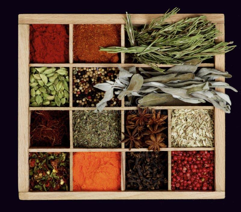 Especias de la especia en caja de madera imagenes de archivo