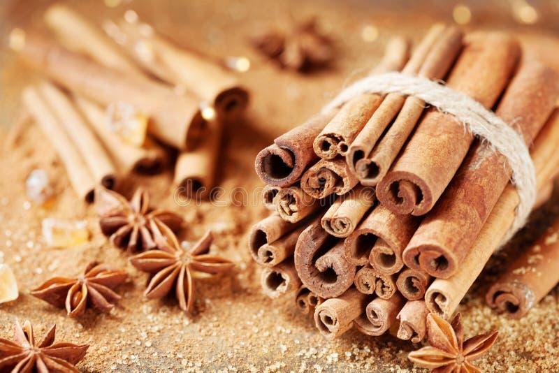 Especias de la Navidad Estrella del anís, palillos de canela y azúcar marrón imagenes de archivo