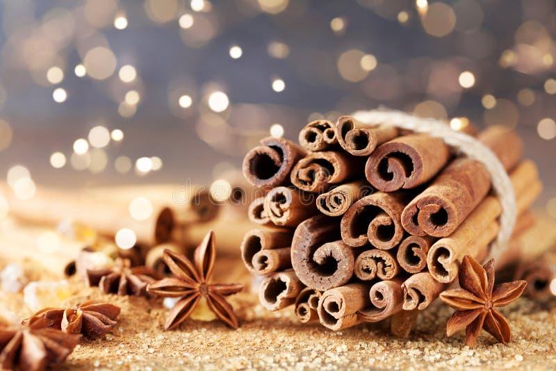 Especias de la Navidad Estrella del anís, palillos de canela y azúcar marrón Efecto de Bokeh imágenes de archivo libres de regalías