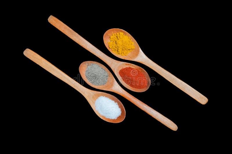 Especias en cucharas de madera fotografía de archivo libre de regalías