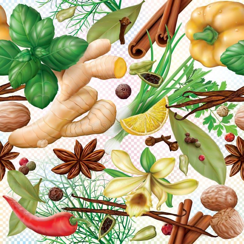 Especias y fondo aromáticos de las hierbas ilustración del vector