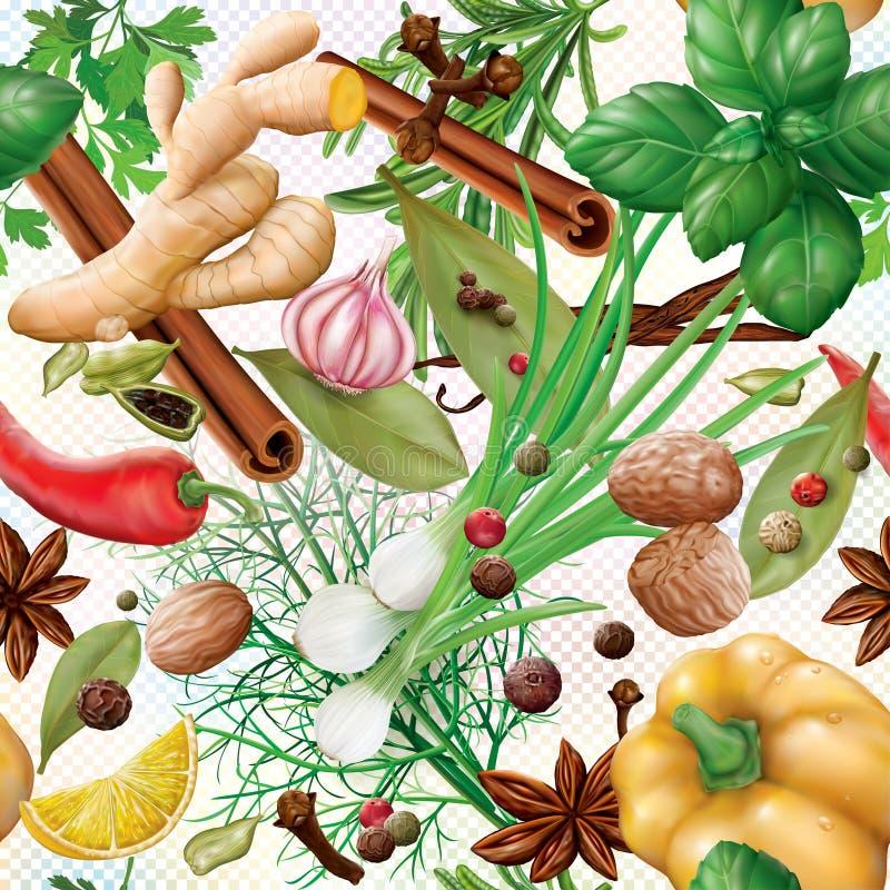 Especias y fondo de las hierbas libre illustration