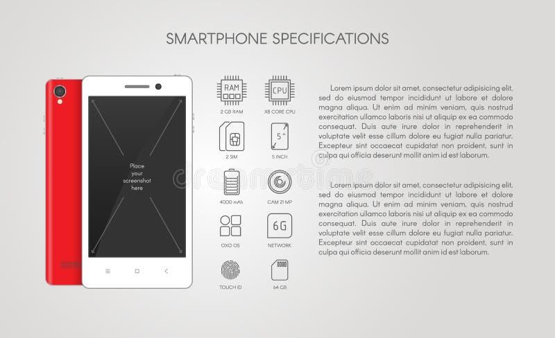 Especificación de Smartphone con la línea plana iconos stock de ilustración
