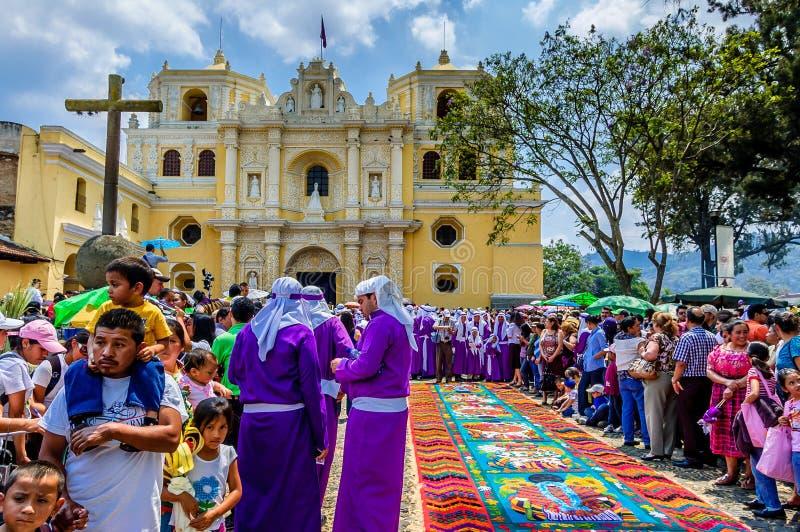 Espectáculo de Domingo de Ramos, Antigua, Guatemala imagen de archivo