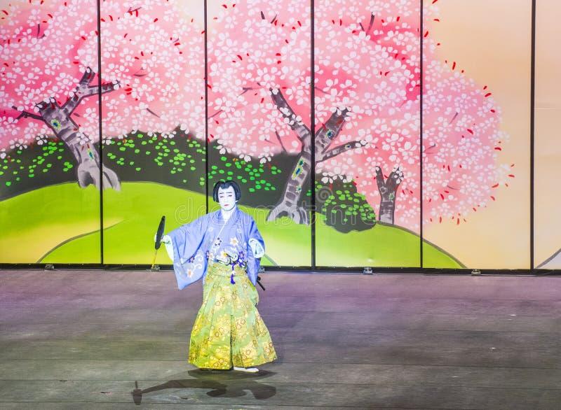 Espectáculo de Kabuki en las fuentes de Bellagio foto de archivo