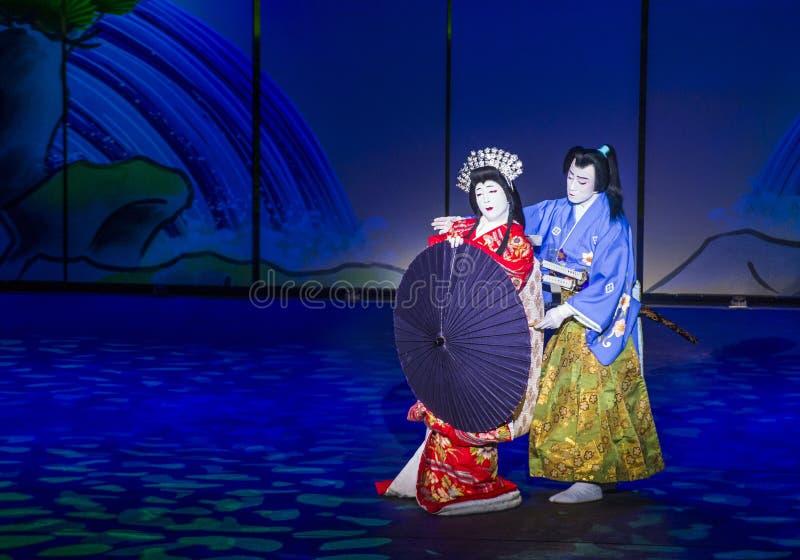 Espectáculo de Kabuki en las fuentes de Bellagio imágenes de archivo libres de regalías
