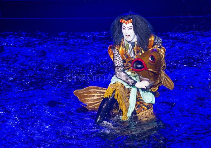Espectáculo de Kabuki en las fuentes de Bellagio foto de archivo libre de regalías