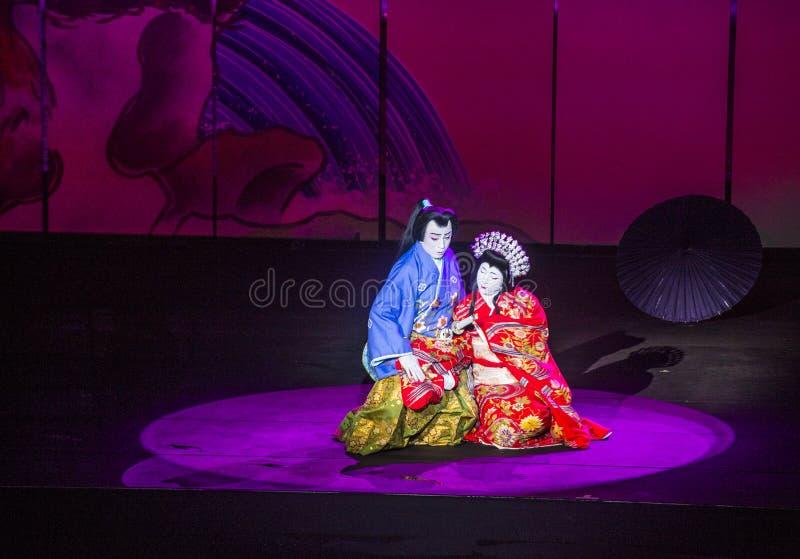 Espectáculo de Kabuki en las fuentes de Bellagio imagen de archivo libre de regalías