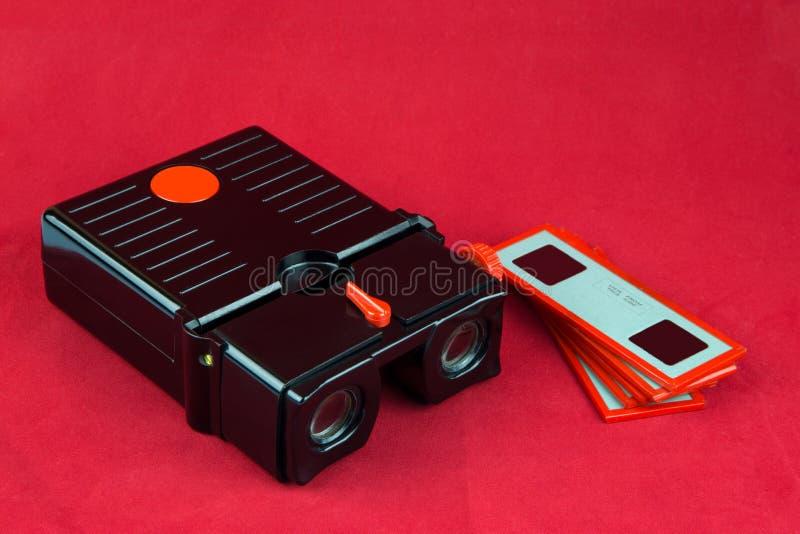 Espectador y diapositivas estéreos de diapositiva del vintage imágenes de archivo libres de regalías