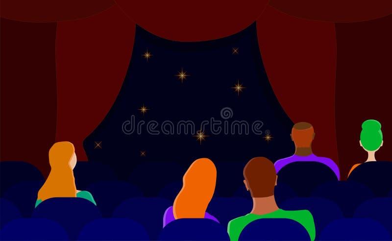 Espectadores en el teatro Hombres y mujeres en el pasillo Vector plano stock de ilustración