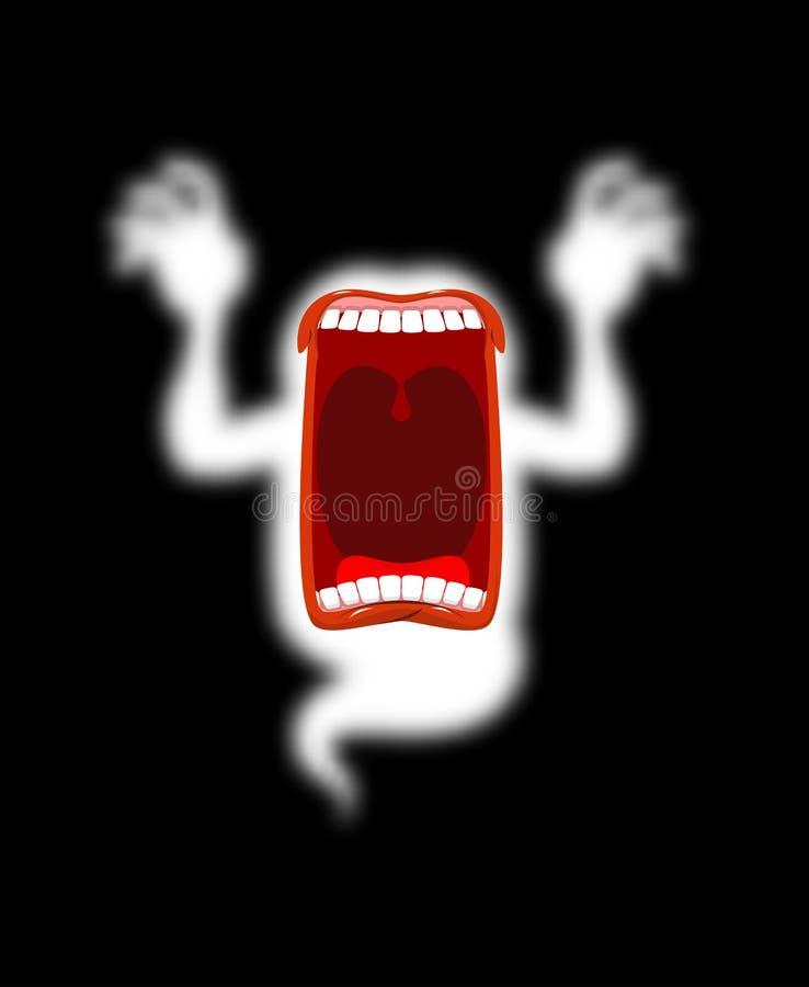 Espectro asustadizo del fantasma hambriento Gritos de susto del fantasma horrible P ilustración del vector
