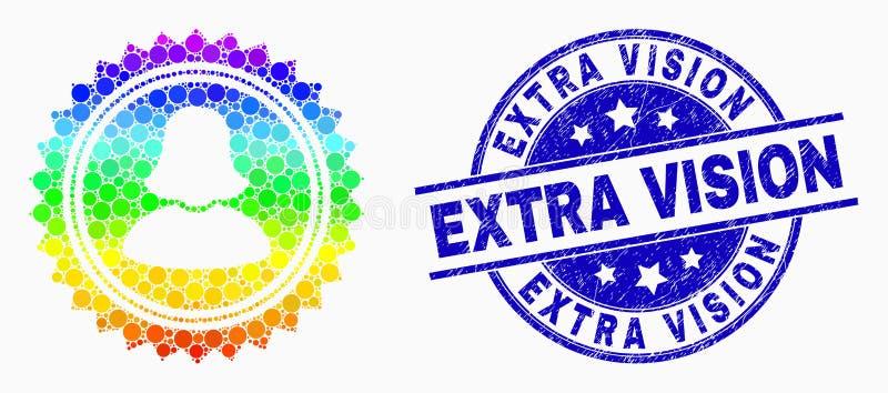 Espectro Dot Woman Stamp Seal Icon del vector y sello adicional de Vision de la desolación ilustración del vector