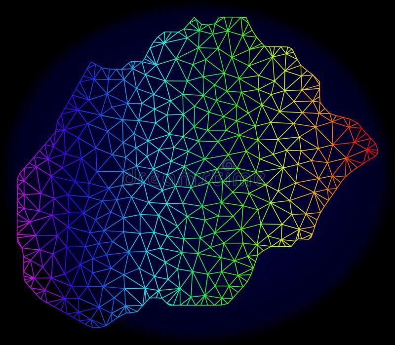 Espectro poligonal Mesh Vector Map de la res muerta de la isla de Alegranza stock de ilustración