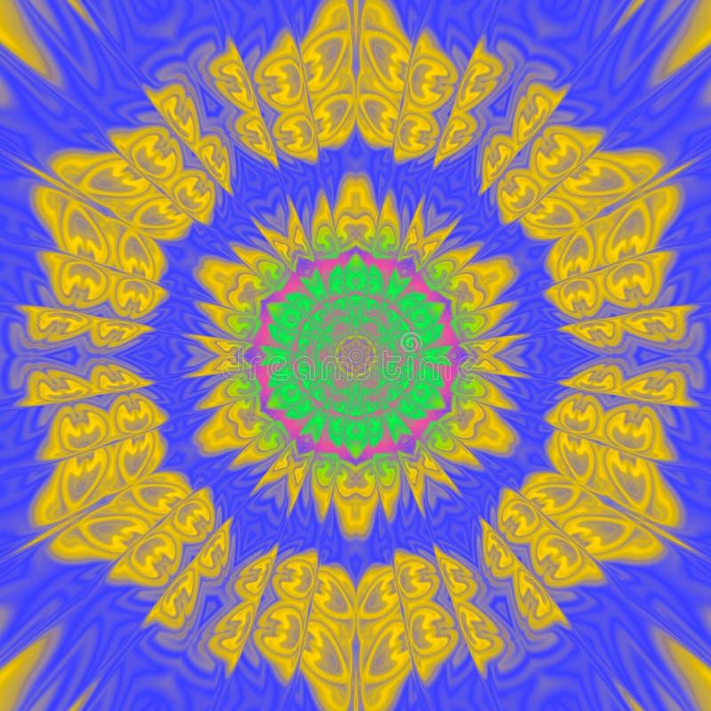 espectro solar en una teja amarilla que remolina en fondo azul brillante ilustración del vector