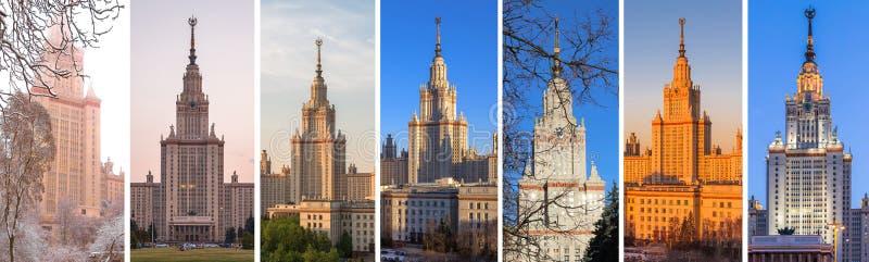 Espectros de diversas vistas de la universidad de Moscú por el año entero imágenes de archivo libres de regalías