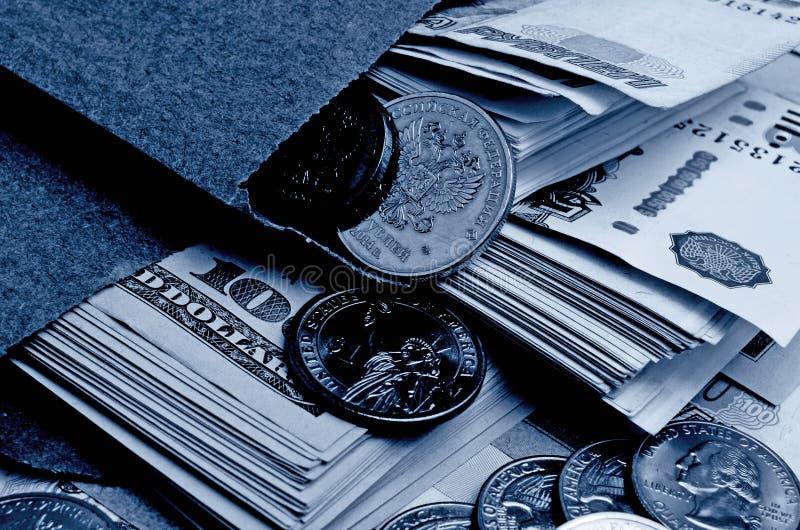 Especulación del urrency del  del dólar Ñ de la rublo fotos de archivo