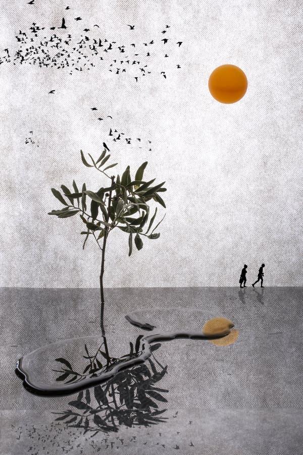 espejismo Collage con madera, los pájaros, agua y las siluetas de la gente stock de ilustración