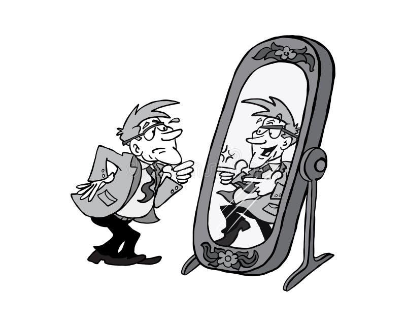 0002 espejo Bertrand BW stock de ilustración