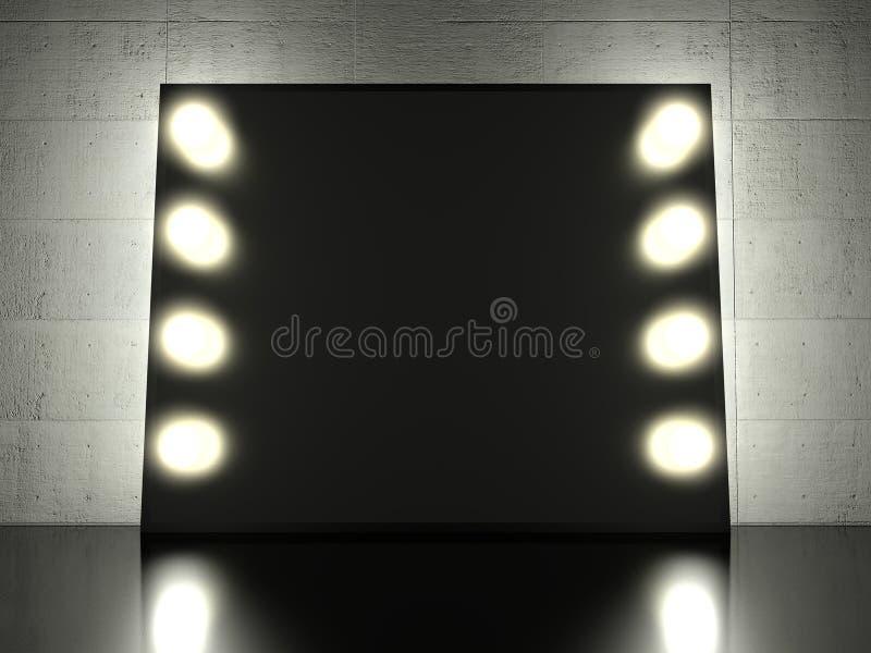 Espejo con las bombillas, fondo del maquillaje libre illustration