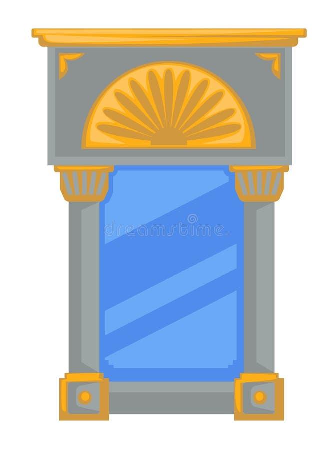 Espejo de estilo imperio con columnas o columnas y elementos dorados stock de ilustración