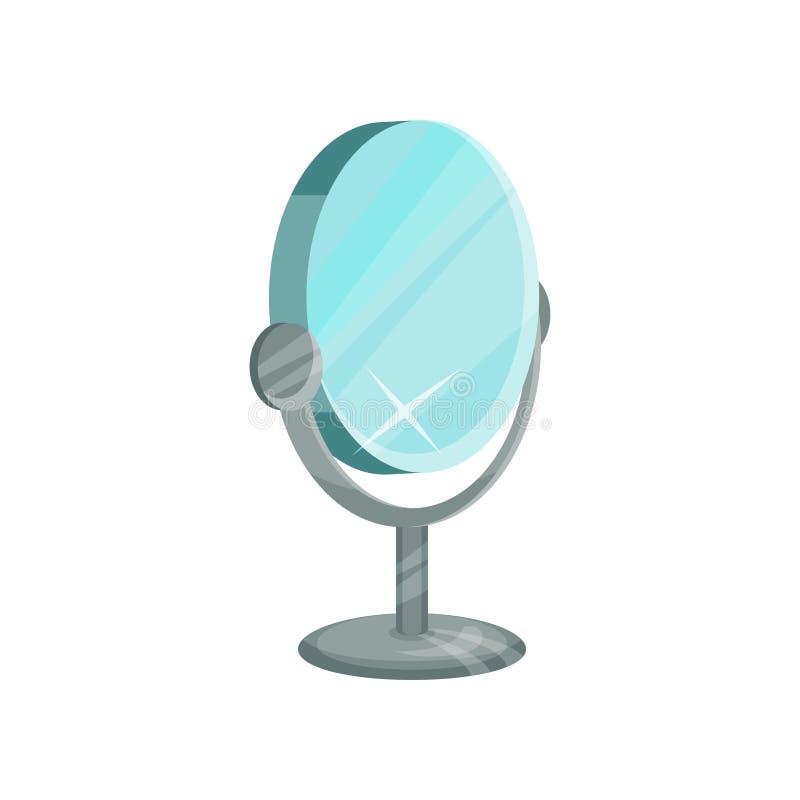 Espejo de la mesa redonda en el soporte del metal para el maquillaje Equipo para el vestuario Diseño plano del vector stock de ilustración