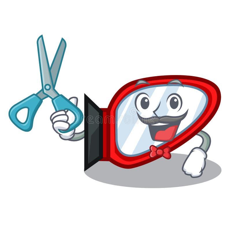 Espejo del lado del peluquero aislado con el carácter ilustración del vector