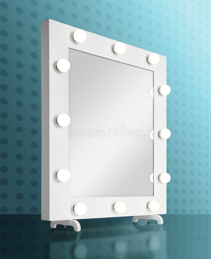 Espejo del maquillaje con los bulbos stock de ilustración