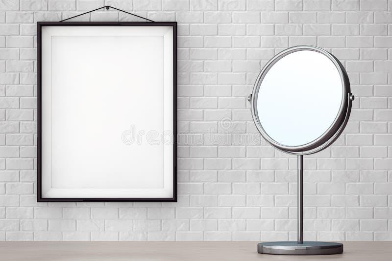 Espejo del maquillaje de Chrome delante de la pared de ladrillo con el marco en blanco ilustración del vector