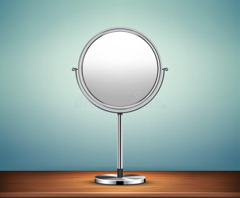 Espejo del maquillaje de Chrome en la tabla stock de ilustración