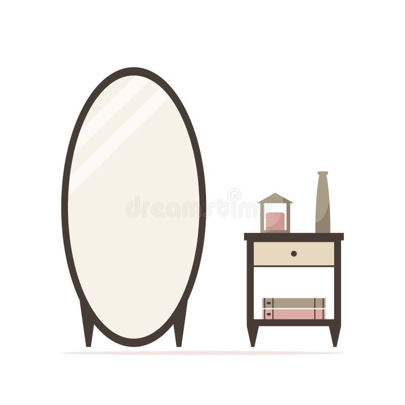 Espejo grande de la preparación con el icono aislado nightstand ilustración del vector