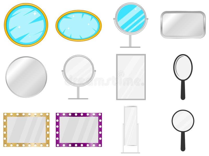 Espejo, icono del espejo, mueble, mirar Sistema grande del espejo stock de ilustración