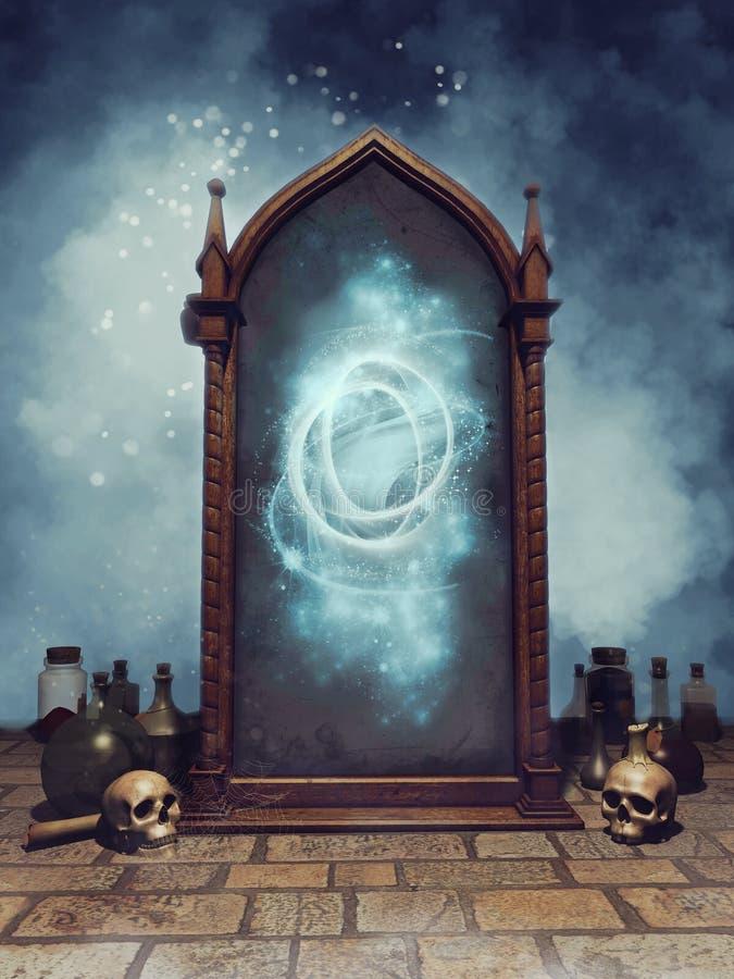 Espejo mágico de la fantasía ilustración del vector