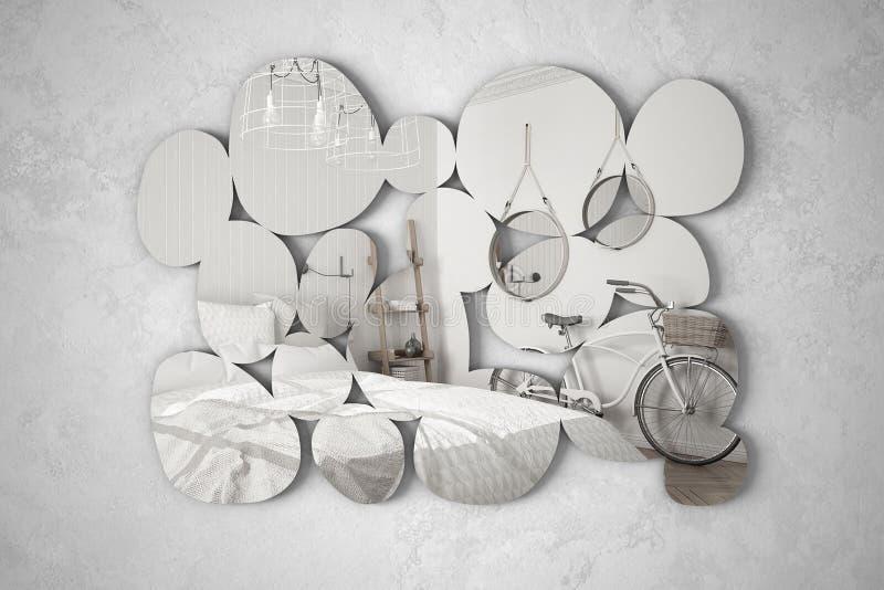 Espejo moderno en la forma de los guijarros que cuelgan en la pared que refleja la escena del diseño interior, dormitorio brillan imagen de archivo libre de regalías