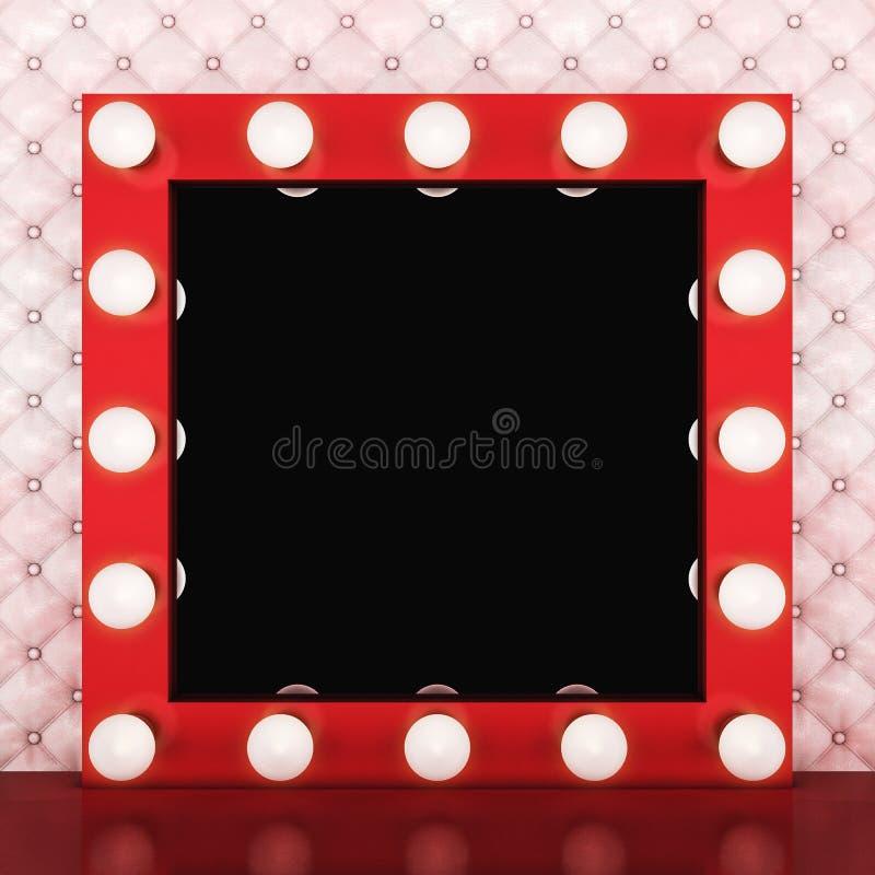 Espejo retro rosado del maquillaje en el fondo de cuero stock de ilustración