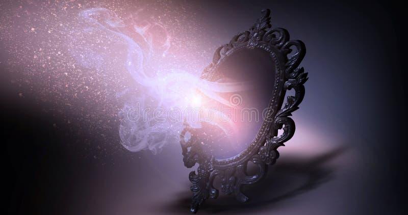 Espelhe dizer mágico, da fortuna e realização dos desejos ilustração do vetor