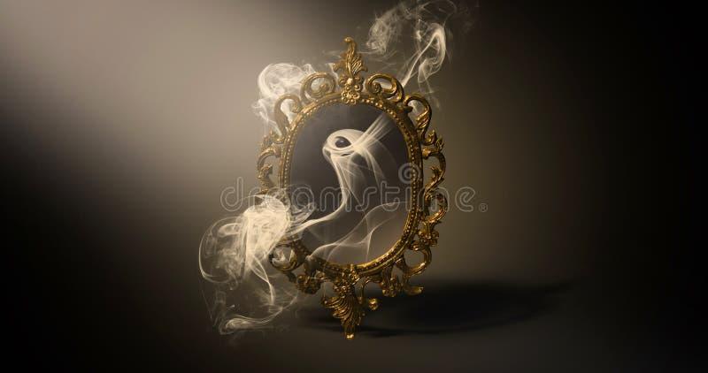 Espelhe dizer mágico, da fortuna e realização dos desejos ilustração royalty free