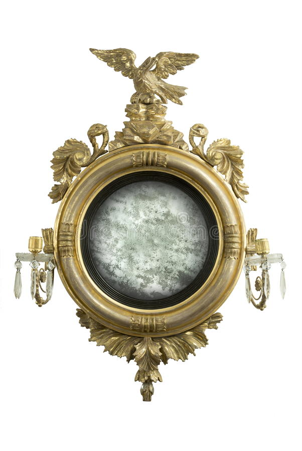 Espelhe o espelho redondo antigo do salão com vidro velho do espelho foto de stock
