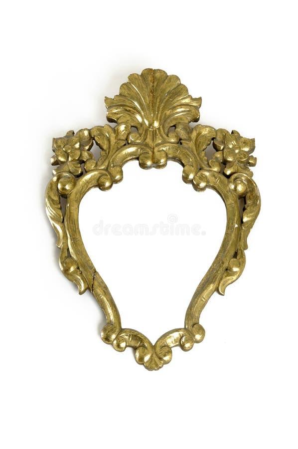 Espelhe o vintage, espelho antigo do ouro com fundo branco foto de stock royalty free