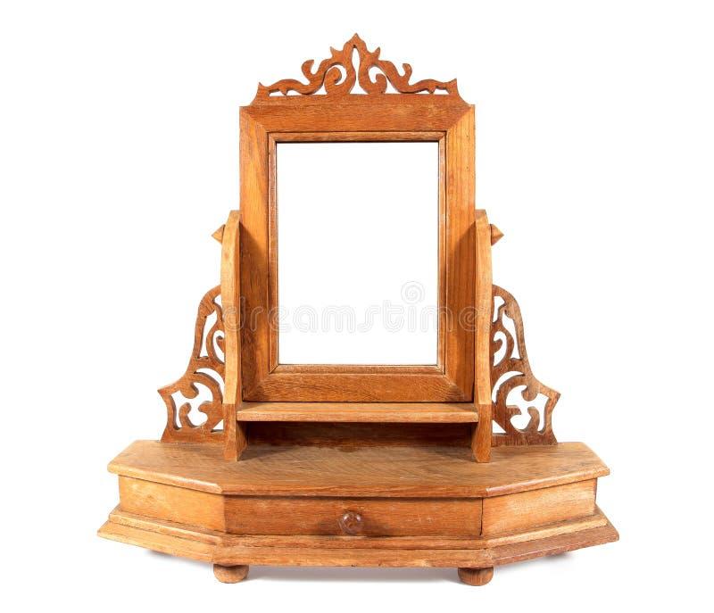 Espelho de cinzeladura de madeira retro da tabela de pingamento isolado no fundo branco Estilo da tabela de molho de Tailândia foto de stock royalty free