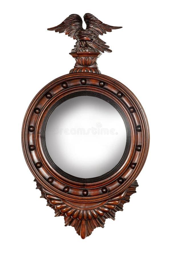 Espelho de madeira do salão do círculo velho com Eagle imagens de stock