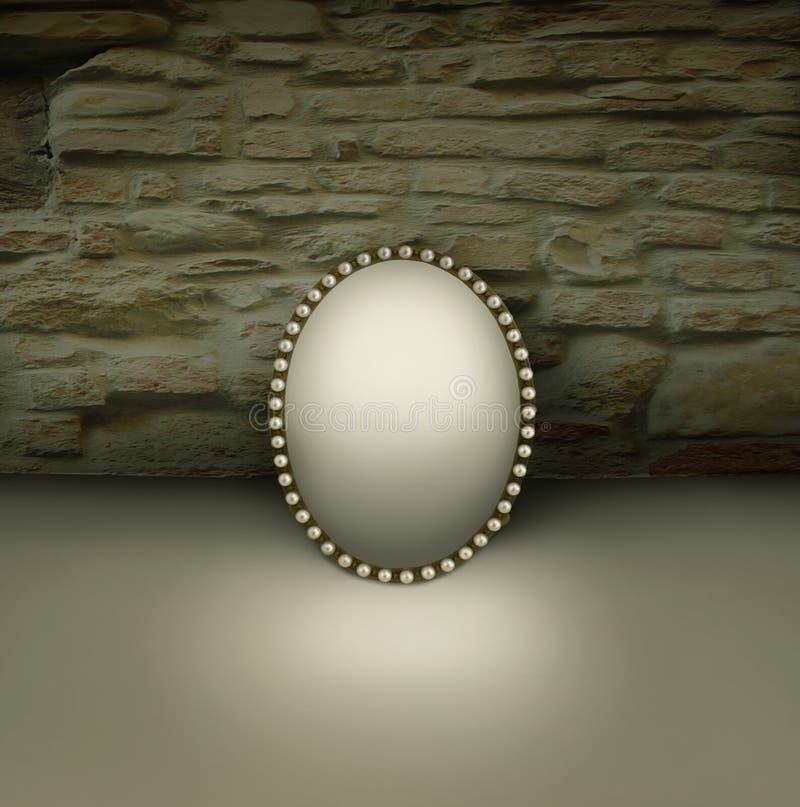 Espelho do vintage com quadro imagens de stock