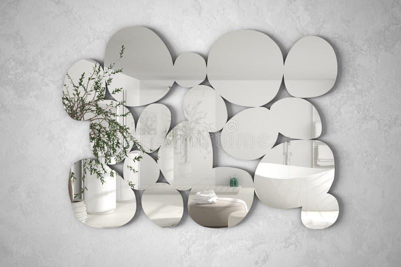Espelho moderno na forma dos seixos que penduram na cena refletindo do design de interiores da parede, banheiro brilhante com oli foto de stock