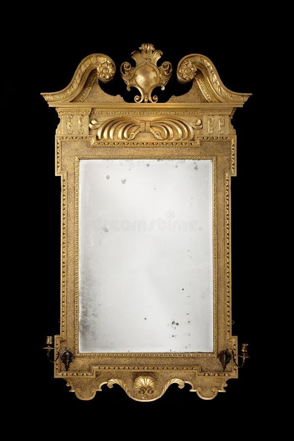 Espelho retangular antigo dourado com vidro original fotografia de stock royalty free