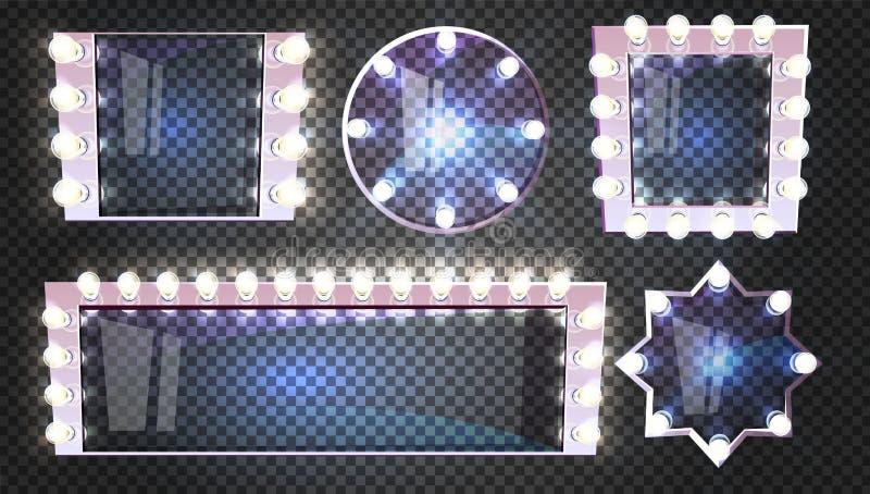 Espelhos da composição com iluminação das lâmpadas do vetor ilustração royalty free