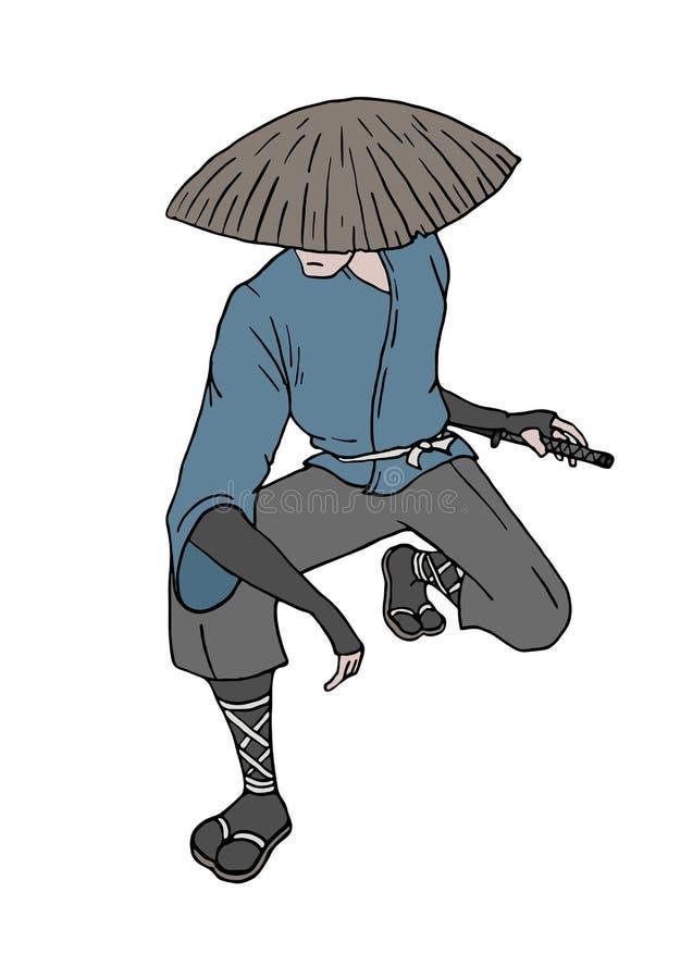 Espera talentoso do samurai ilustração stock
