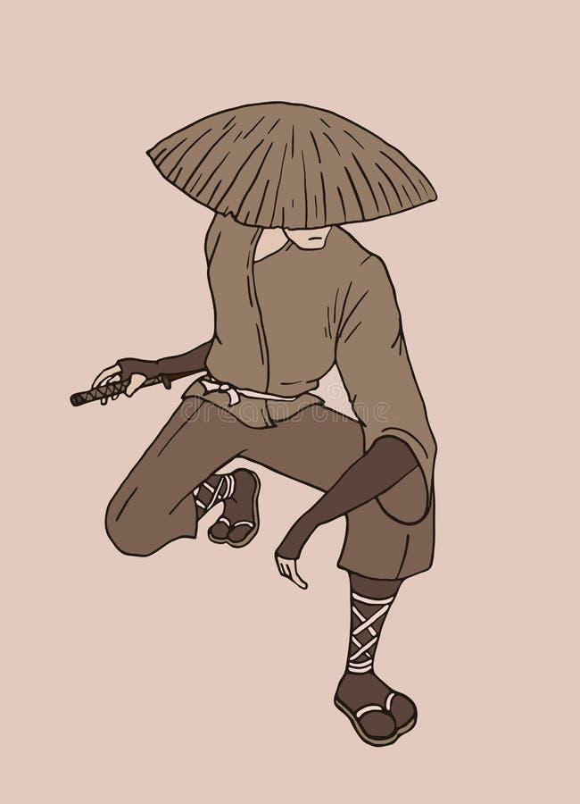 Espera talentoso do samurai ilustração royalty free